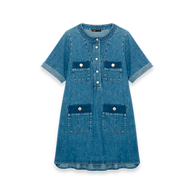 Short jean dress with short sleeves - See all - MAJE